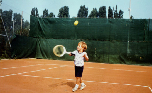 Three-year-old Federer practising at the Ciba Tennis Club, Allschwil, Switzerland.</p><p>� RF Management