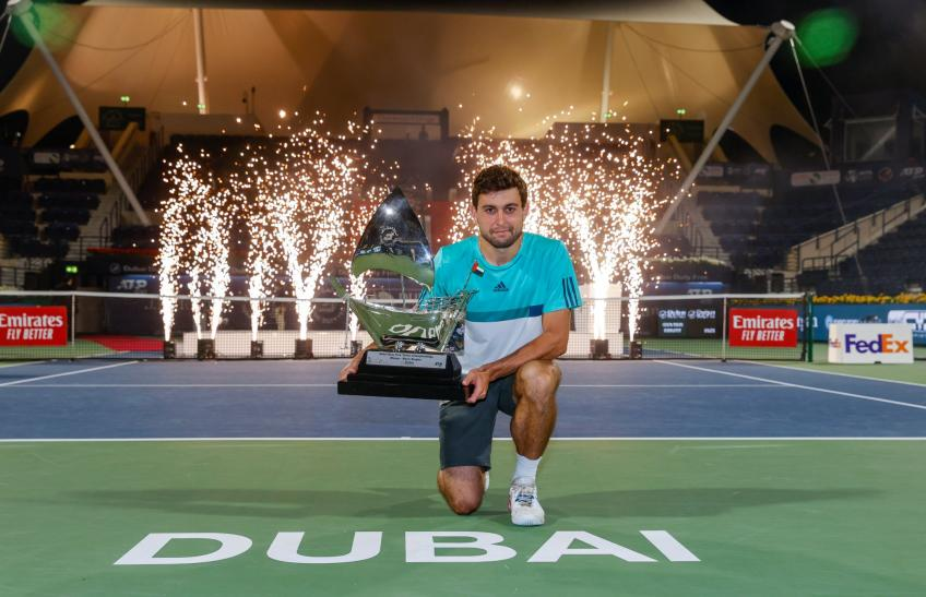 Aslan Karatsev reacts to winning his maiden ATP title in Dubai