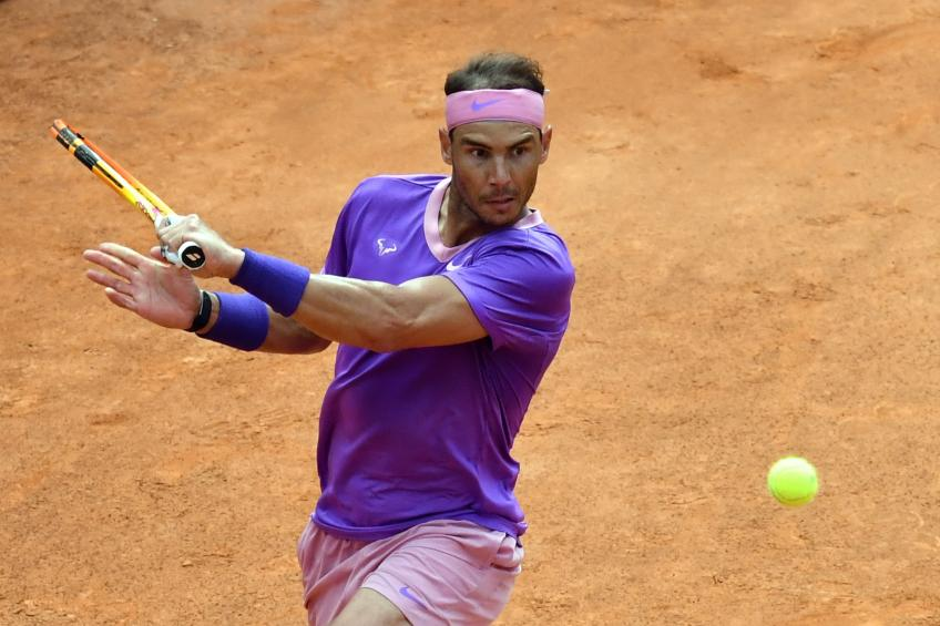 Rafael Nadal reacts to beating Alexander Zverev at Rome Masters