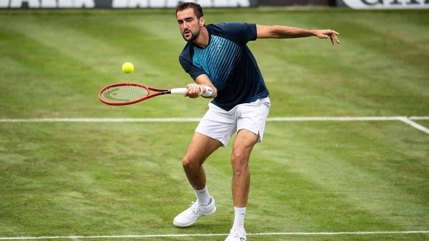Marin Cilic reacts to beating Denis Shapovalov for Stuttgart semifinal