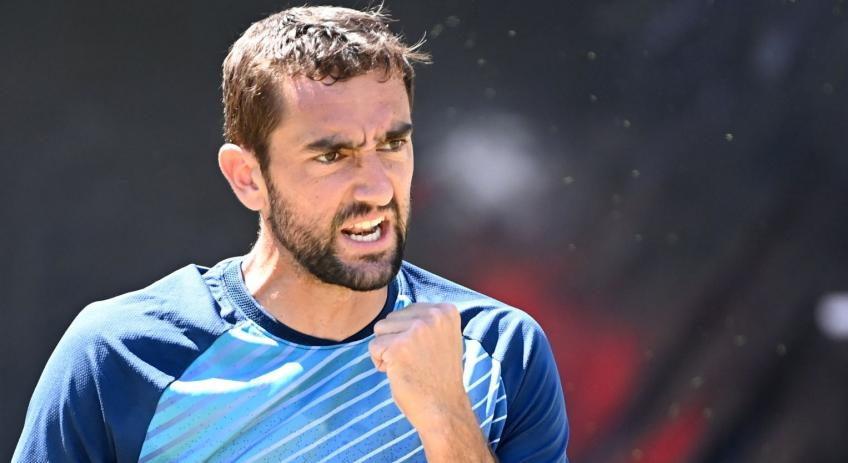 Marin Cilic reacts to beating Felix Auger-Aliassime in Stutttgart final