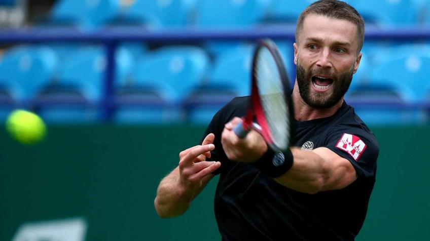 Wildcard Liam Broady reacts to stunning Frances Tiafoe in Eastbourne