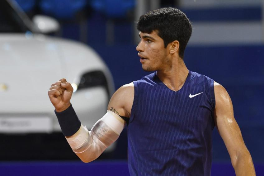 Carlos Alcaraz, 18, reacts to winning his maiden ATP title in Umag