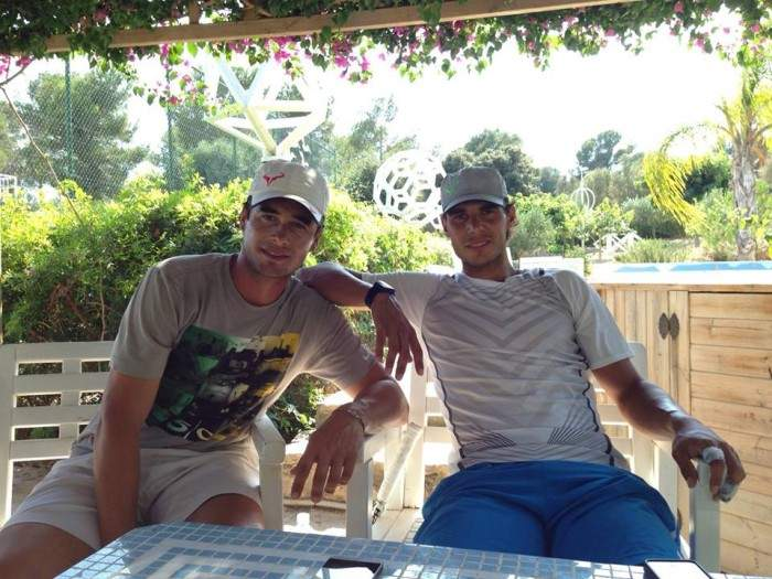 Rafael Nadal is practicing with his best friend Tomeu Salva these days