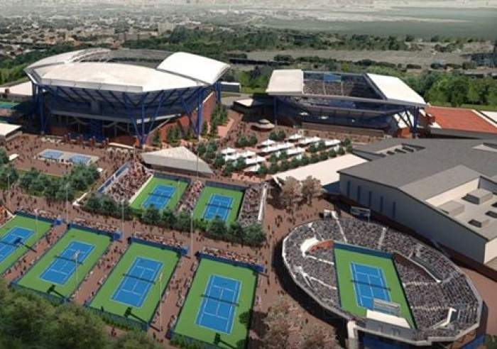 Works On The Roof Of The Arthur Ashe Stadium Are Finally