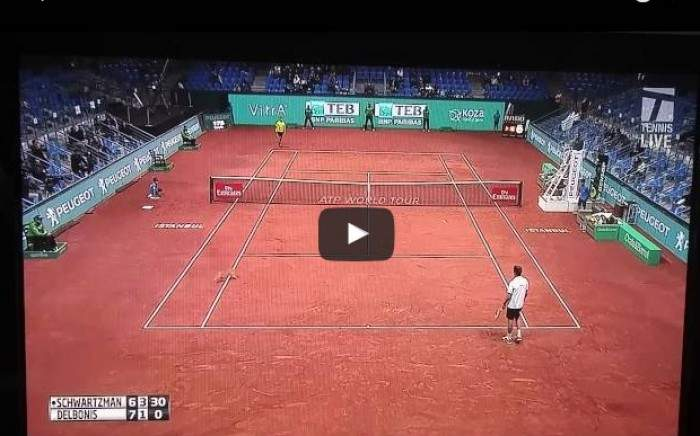Federico Delbonis hits cat with a tennis ball, gets a warning!