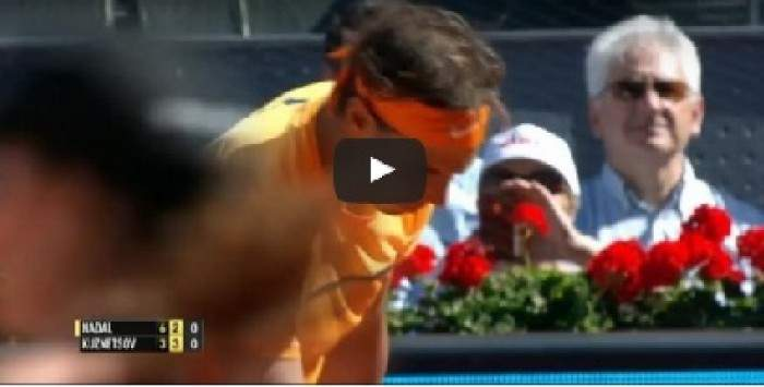 Nadal leaps almost into the crowd