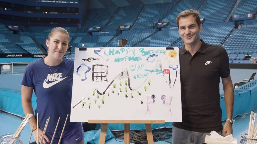 Federer, Bencic take on Team Painting Challenge - Hopman Cup