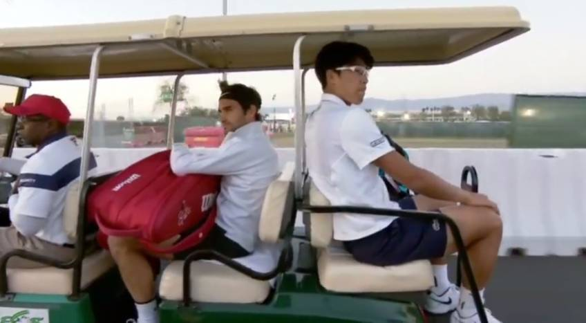 Federer and Chung Head to Court side by side by car