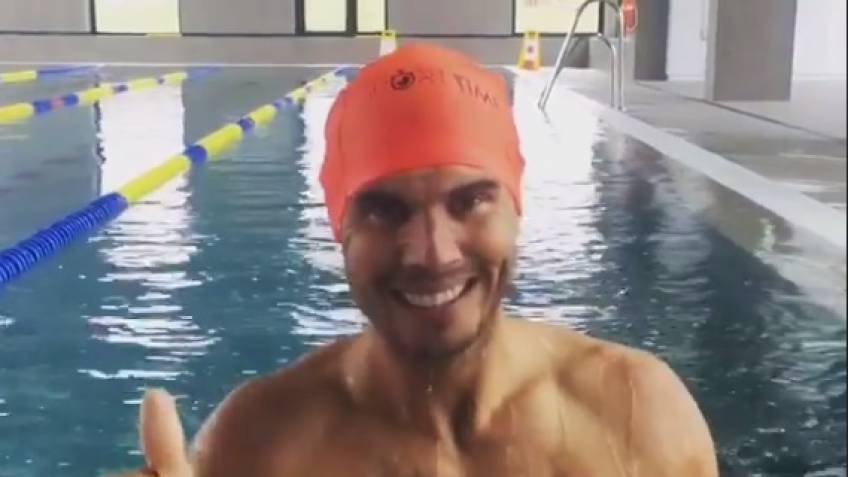 Rafael Nadal Swimming in Manacor