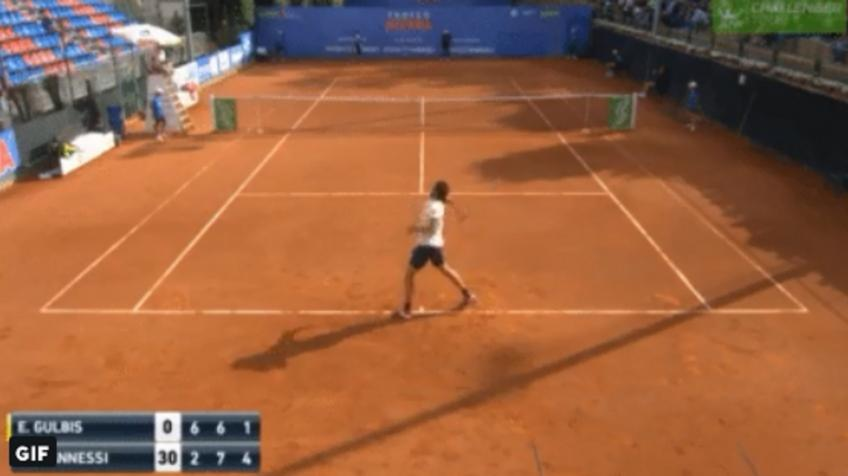 Crazy Ernests Gulbis launches racket into the crowd!
