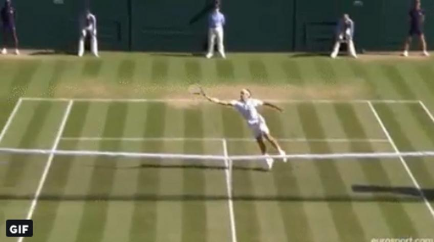 Roger Federer shows amazing reflexes, wins point