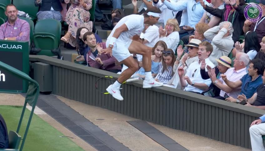 Rafa Nadal ends up in crowd in desperate race to the ball