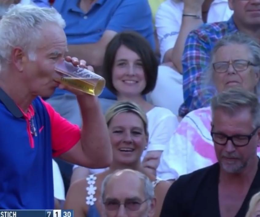 John McEnroe drinks beer in mid-match with Michael Stich