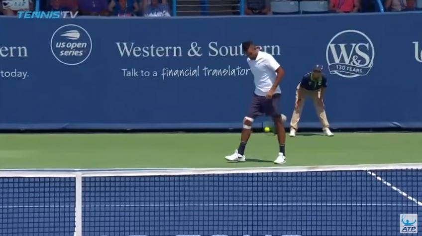 Nick Kyrgios hits casual tweener, wins the point