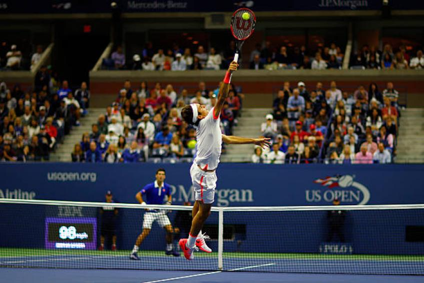 Roger Federer's Incredible Around The Net Post Shot At The US Open