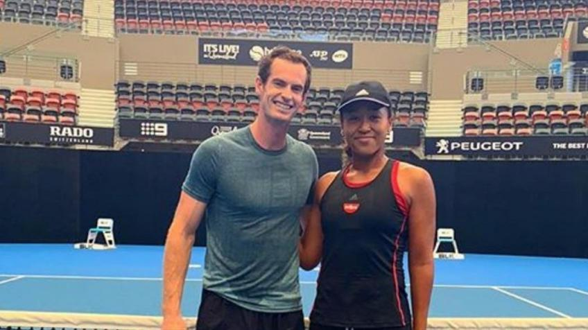 Andy Murray Hits with Naomi Osaka in Brisbane