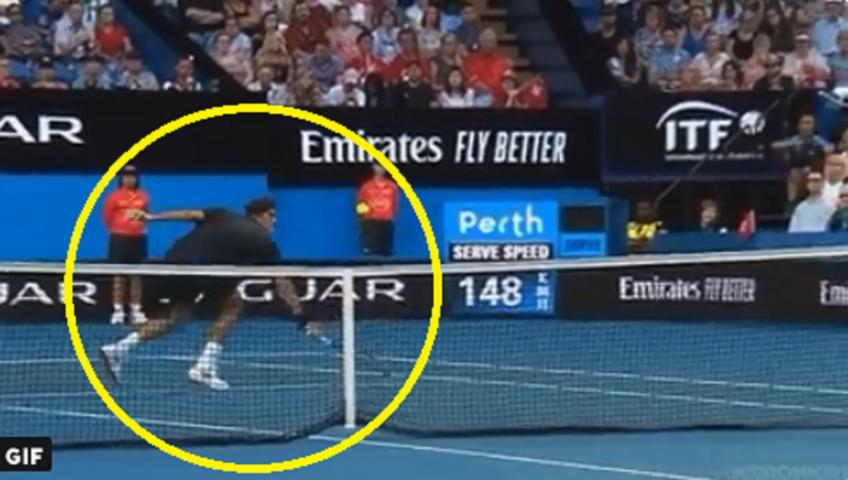 Roger Federer hits stunning volley