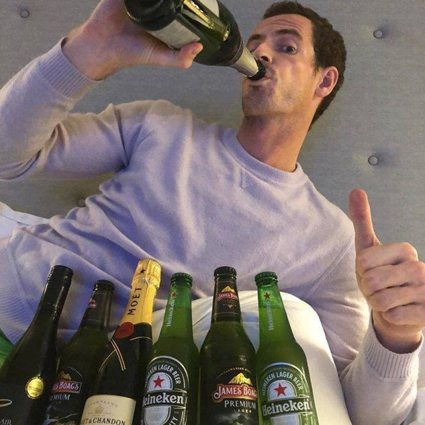 Andy Murray celebrates New Year drinking alcohol!