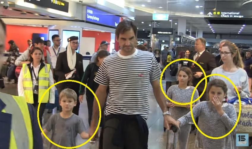 Roger Federer leaves Melbourne with wife Mirka and kids at the airport