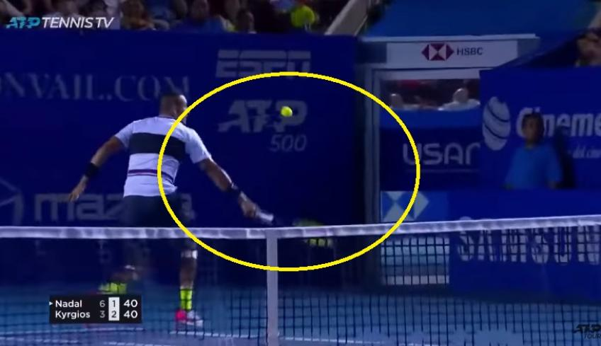Nick Kyrgios hits crazy shot against Nadal