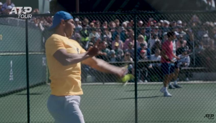 Federer and Nadal | Side-By-Side Practice In Indian Wells