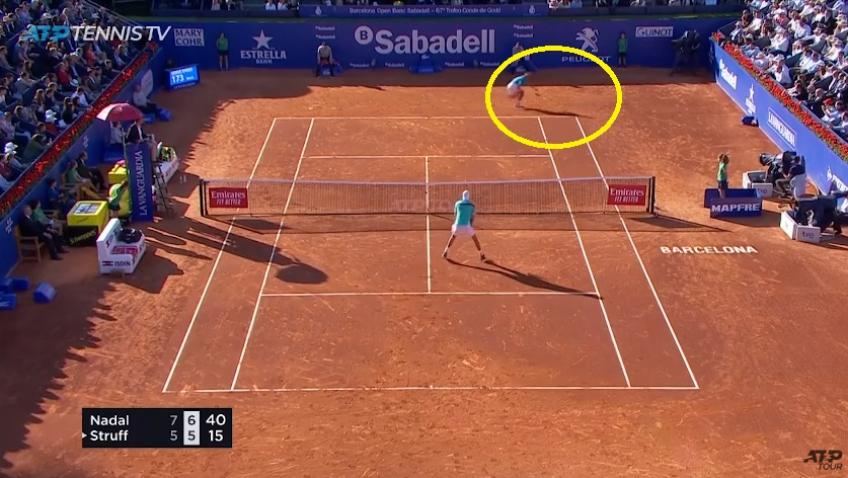 Rafael Nadal hits amazing forehand passing on match point
