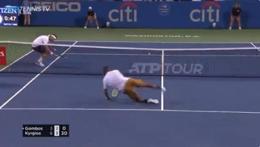 Kyrgios hits diving volley to win crazy point
