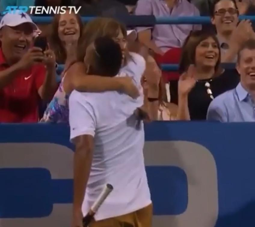 Kyrgios hugs fan after win