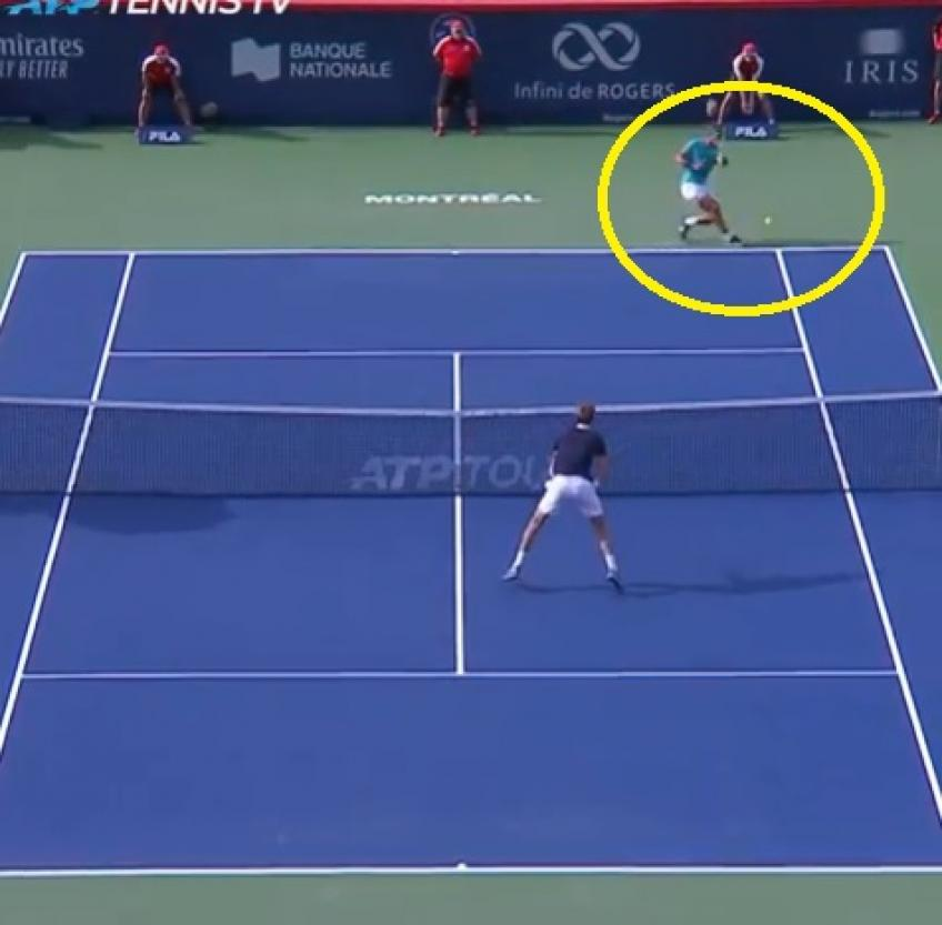 Rafael Nadal hits stunning forehand passing to win first set