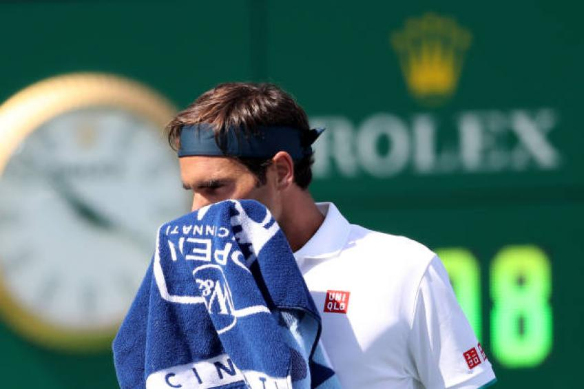 Roger Federer reacts to losing to Andrey Rublev in Cincinnati