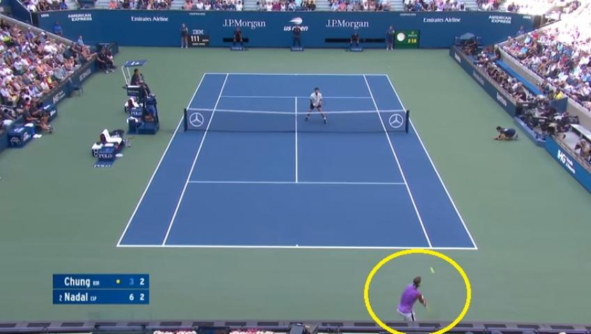 Nadal hits amazing lob against Chung