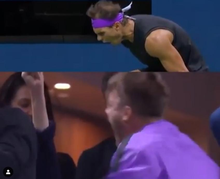 Nadal and his fan celebrate in the same way
