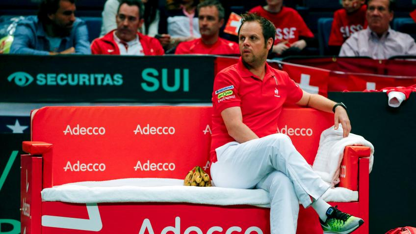 Swiss Captain Severin Luthi reacts to Slovakia Davis Cup loss