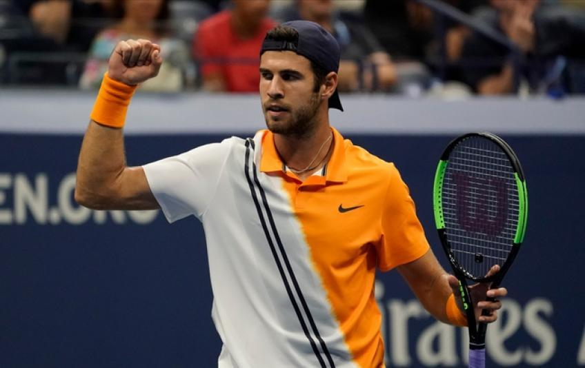 Karen Khachanov reacts to saving five MP's in Moscow opener