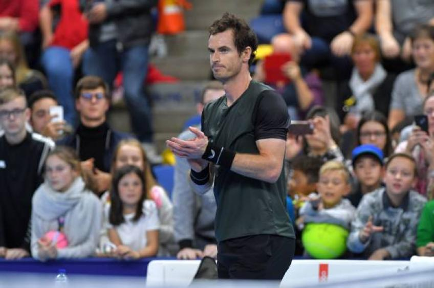 Andy Murray reacts to reaching Antwerp Open final