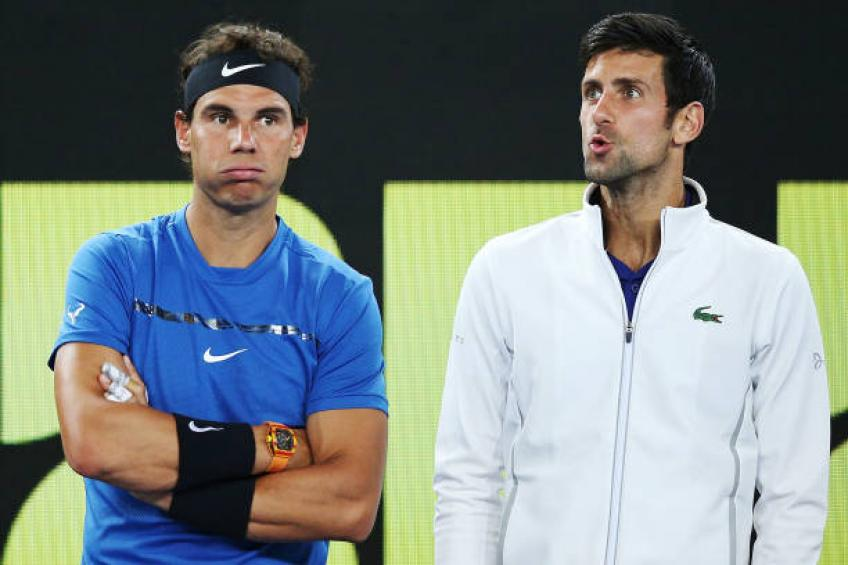 Novak Djokovic reacts to ending the year behind Rafael Nadal