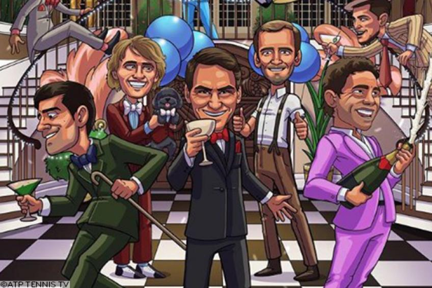 Roger Federer, Rafael Nadal & Novak Djokovic welcomed 2020 in Gatsby-styled cartoon