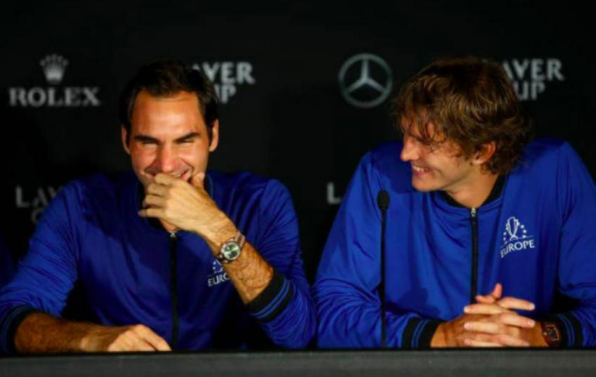 Roger Federer reacts after Zverev calls him, Nadal, and Djokovic the 'old guys'