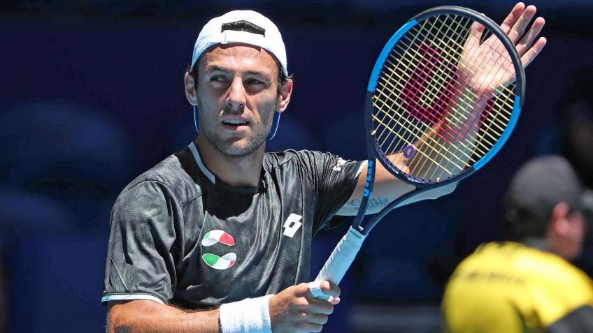 Stefano Travaglia reacts to demolishing Viktor Durasovic at ATP Cup