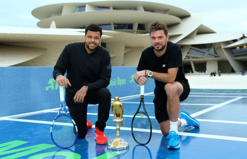 Stan Wawrinka and Jo-Wilfried Tsonga Hit Outside the National Museum of Qatar