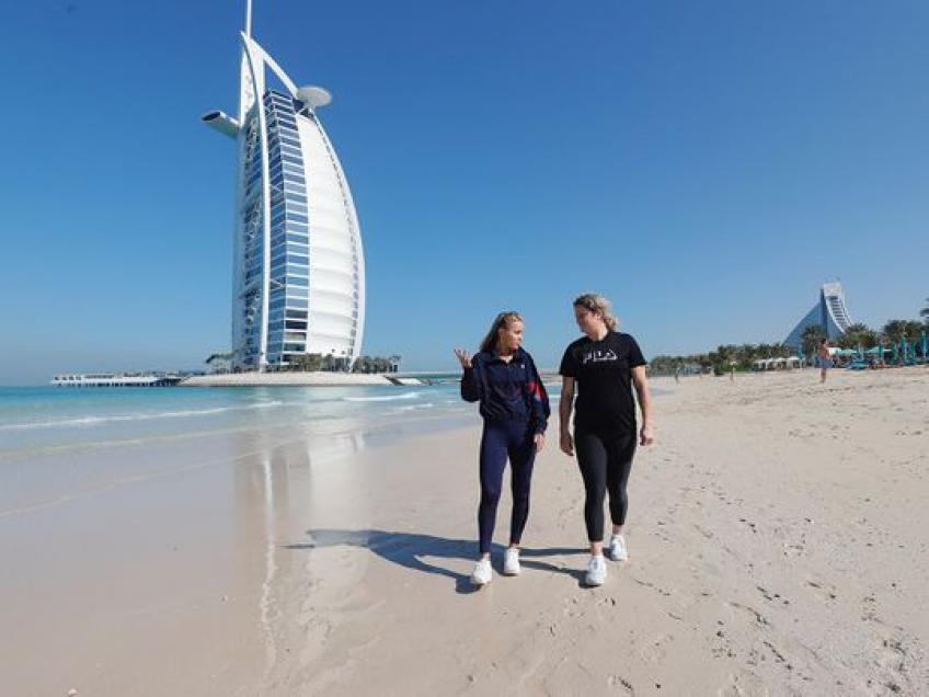 Kim Clijsters and Sofia Kenin Hit the Beach in Dubai