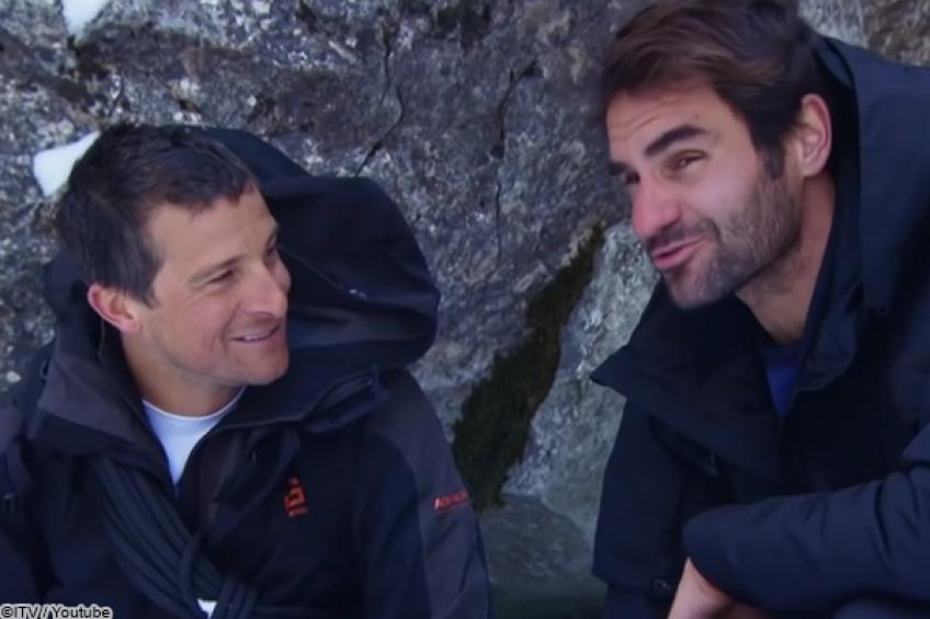 Which stars followed Roger Federer's footsteps in Bear Grylls' wild TV show