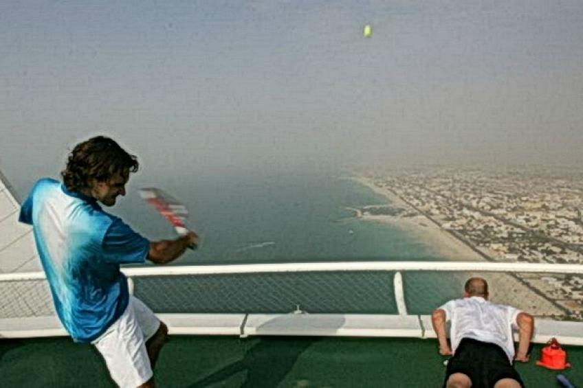 On this day: Roger Federer and Andre Agassi play on Burj Al Arab helipad
