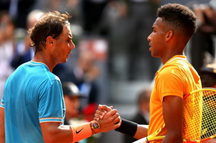Rafael Nadal and Felix Auger-Aliassime hit practice court in Indian Wells
