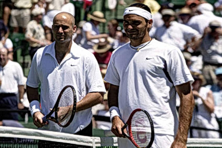 In Roger Federer's words: 'Agassi played great match, although I had my chances..'