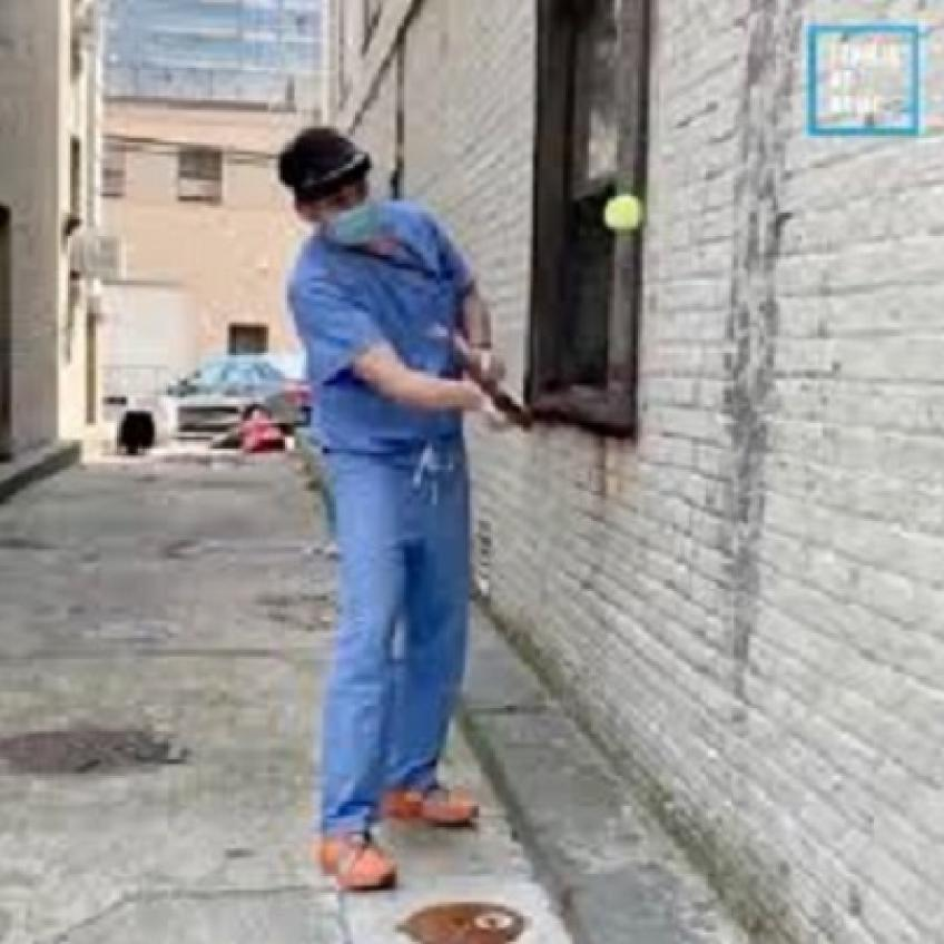 Doctor in New York does the Roger Federer Challenge during his well earned break