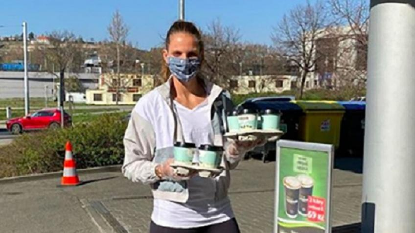 Karolina Pliskova Delivers Coffee and Gifts to Firefighters