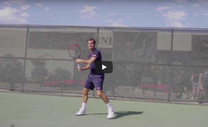 Here Roger Federer tests the new Wilson Clash racket!