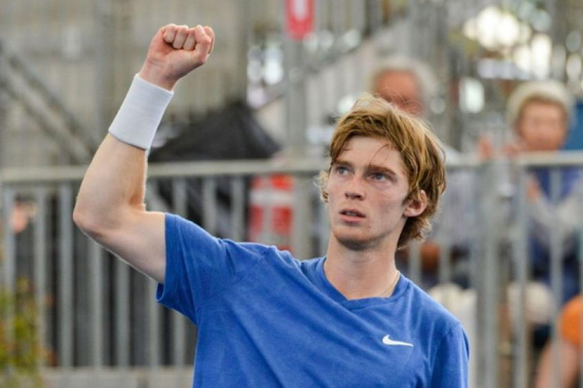 Russia's Andrey Rublev shows his respect for Marat Safin, Yevgeny Kafelnikov